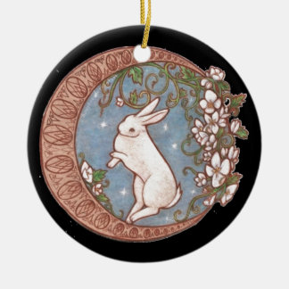 DANCING MOON RABBIT Double-Sided CERAMIC ROUND CHRISTMAS ORNAMENT