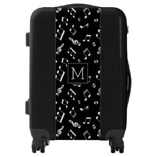 Dancing Music Notes Pattern and Monogram Luggage