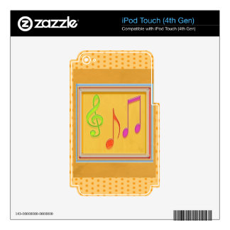 Dancing Music Symbols on GOLD Foil iPod Touch 4G Decals