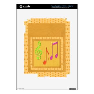 Dancing Music Symbols on GOLD Foil iPad 3 Decals