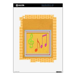 Dancing Music Symbols on GOLD Foil Skin For iPad 2