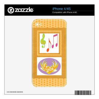 Dancing Music Symbols on GOLD Foil Skin For iPhone 4