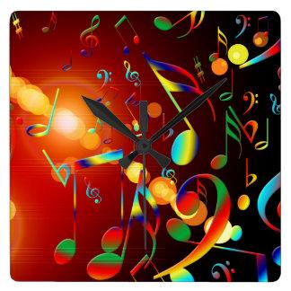 Dancing Musical Notes Square Wall Clocks