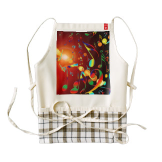 Dancing Musical Notes Zazzle HEART Apron