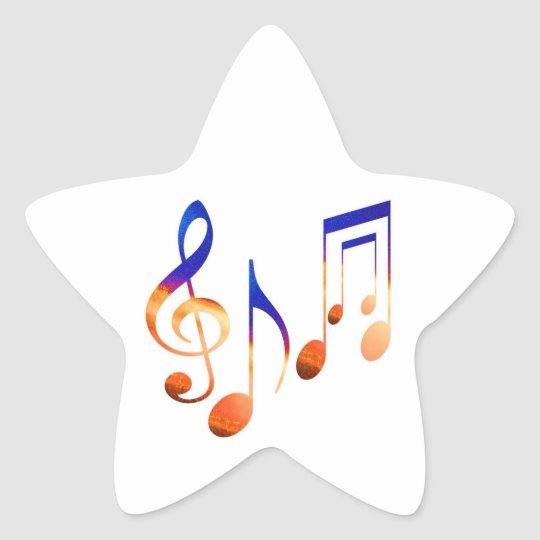 Dancing Musical Signs Symbols Sheet Music Star Sticker Zazzle
