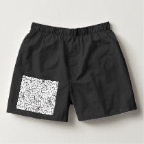 Dancing Notes in Black & White Boxers