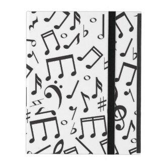 Dancing Notes in Black & White iPad Folio Cases