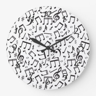 Dancing Notes in Black & White Large Clock