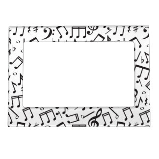 Dancing Notes in Black & White Magnetic Photo Frame