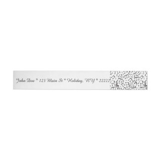 Dancing Notes in Black & White Wrap Around Address Label