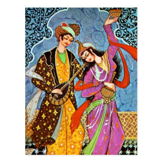 Dancing Nymphe and Musician postcard