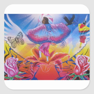 Dancing on flowers square sticker