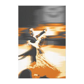 dancing-orange stretched canvas print