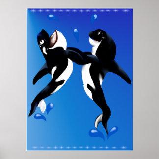 Dancing Orcas Poster
