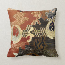 Dancing Oriental Cranes Throw Pillow