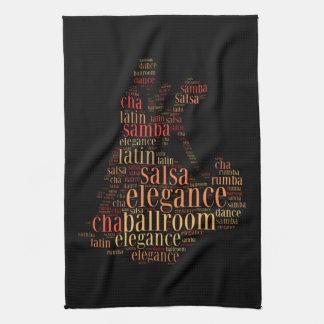 Dancing pair as words cloud design hand towel