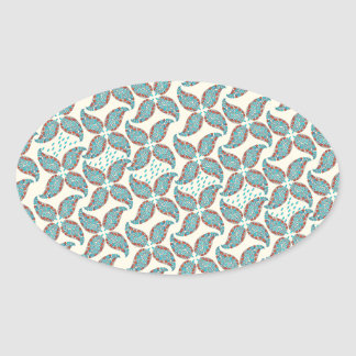 Dancing Paisley Vintage Flower Pattern Oval Sticker