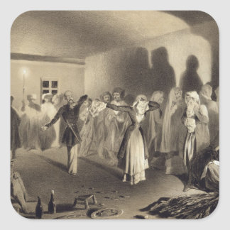 Dancing Party at Kagha-Choura, Dagestan, plate 55 Square Stickers