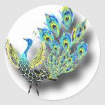 Dancing Peacock Classic Round Sticker