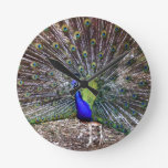 Dancing Peacock Round Wall Clock