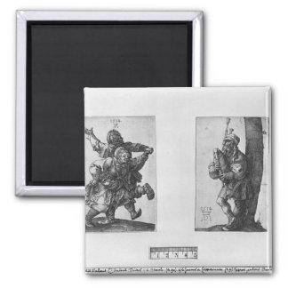 Dancing Peasants and a Bagpipe Player, 1514 2 Inch Square Magnet