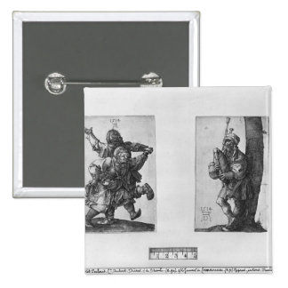 Dancing Peasants and a Bagpipe Player, 1514 2 Inch Square Button