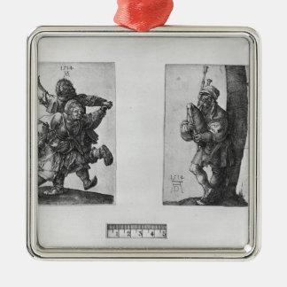 Dancing Peasants and a Bagpipe Player, 1514 Metal Ornament