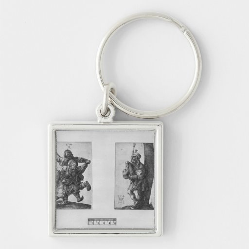 Dancing Peasants and a Bagpipe Player, 1514 Silver-Colored Square Keychain