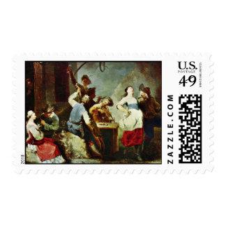Dancing Peasants By Zick Januarius (Best Quality) Stamp