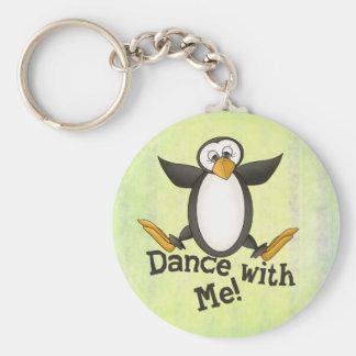 Dancing Penguin Basic Round Button Keychain