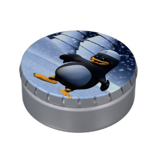 Dancing Penguin Jelly Belly Candy Tin