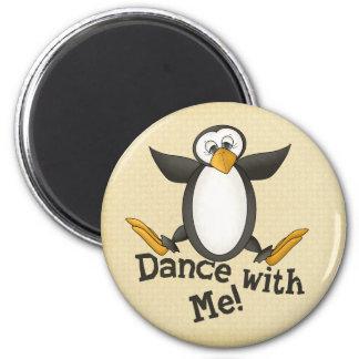 Dancing Penguin 2 Inch Round Magnet