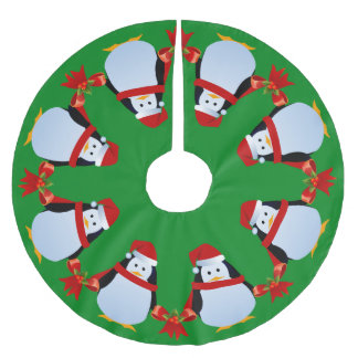 Dancing Penguins Brushed Polyester Tree Skirt