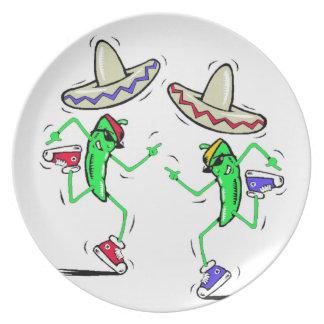 Dancing Peppers Melamine Plate