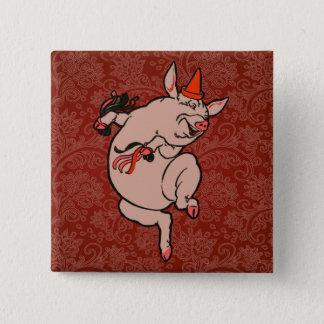 Dancing Pig Little Vintage Cute Dancer Button