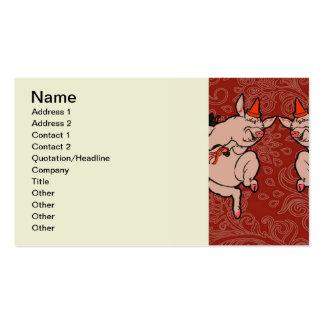 Dancing Pig Vintage Cute Dancer Business Card Templates