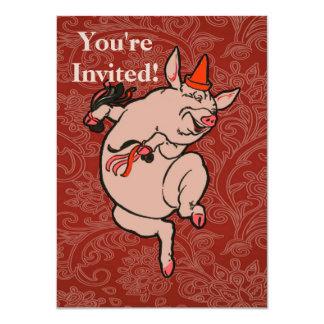 Dancing Pig Vintage Cute Dancer Card
