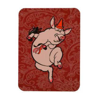 Dancing Pig Vintage Cute Dancer Rectangular Photo Magnet