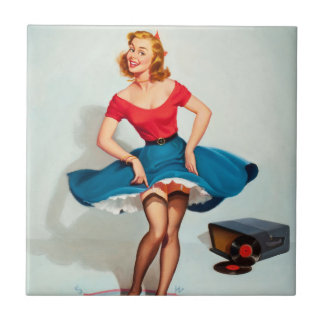 Dancing Pin-up Girl ; Vintage Pinup Art Ceramic Tile
