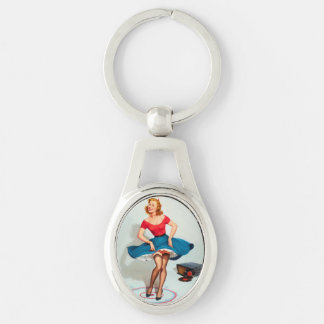 Dancing Pin-up Girl ; Vintage Pinup Art Keychain