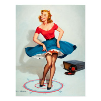 Dancing Pin-up Girl ; Vintage Pinup Art Postcard