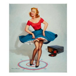 Dancing Pin-up Girl ; Vintage Pinup Art Poster