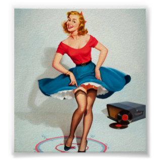 Dancing Pin-up Girl ; Vintage Pinup Art Poster at Zazzle