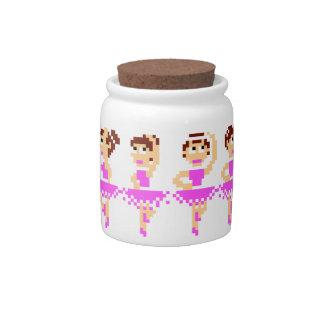 Dancing Pink Ballerina Pixel Art Candy Jar