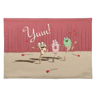 Dancing Pizza, Donut, and Ice Cream Placemat, Yum! Cloth Placemat