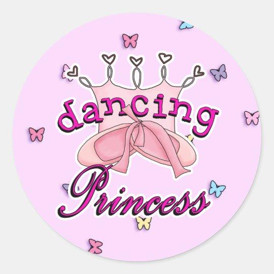 Dancing Princess Ballet Design Classic Round Sticker