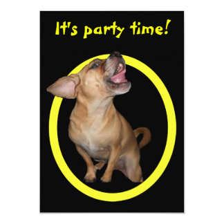 Dancing Puggle Birthday Party 5x7 Paper Invitation Card