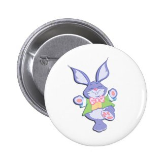 Dancing Purple Easter Bunny 2 Inch Round Button