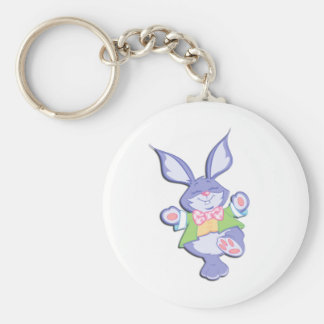 Dancing Purple Easter Bunny Basic Round Button Keychain