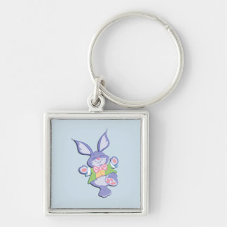 Dancing Purple Easter Bunny Blue Keychain